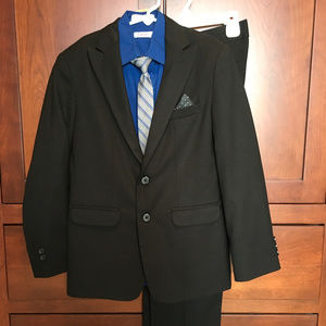 LIKE NEW Boys black suit (12) , blue shirt and tie